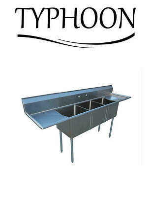 120 Stainless Steel Sink 24 Left Right Drainboard Three Compartment Kitchen