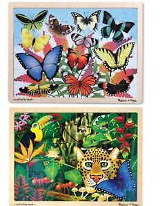New Sealed 2 Melissa & Doug 48pc Wooden Jigsaw Puzzles