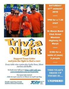 JDRF Annual Fundraising Trivia Night St Marys Penrith Area Preview
