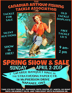 Vintage fishing tackle show and sale Apr 2  Napanee