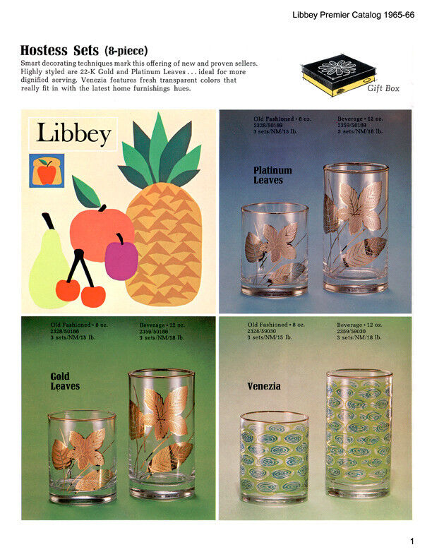 Libbey Decorated Tumblers Stemware & Accessories '65-73