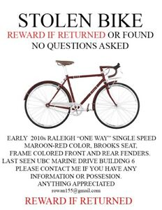 STOLEN BIKE. REWARD IF RETURNED