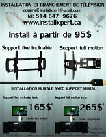 Installation de support mural ( tv / tablette / barre de son )