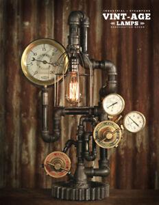 Industrial Steampunk Gauge Lamp Vulcan Iron Works