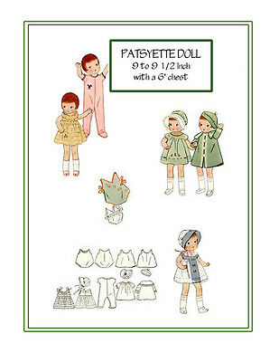 1930 Patsyette 9 to 9 1/2 inch Doll Sewing pattern - coat,hat,dress, etc