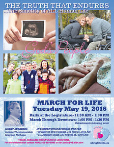 2016 NB RIGHT TO LIFE ANNUAL MARCH FOR LIFE