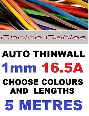 THINWALL AUTOMOTIVE CABLE 1MM 16A CAR BOAT LOOM WIRE 5 METRES 40 COLOURS 32/0.20