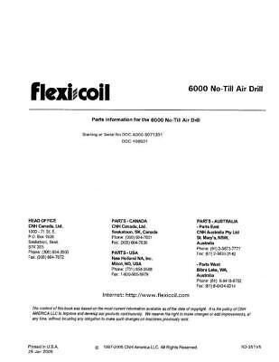 New Holland Flexi Coil 6000 No Till Air Drill Parts Catalog