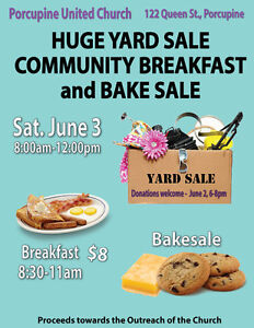 Huge Yard Sale ,Community Breakfast and Bake Sale