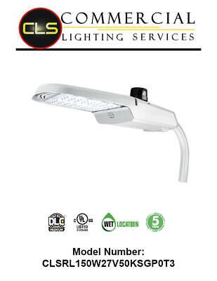 Led Silver Area Roadway Parking Lot Light 150 Watt Commercial Photocell 120-277v