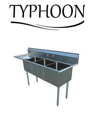 Three Compartment 96 18g Stainless Steel Sink 24 Left Drainboard Kitchen