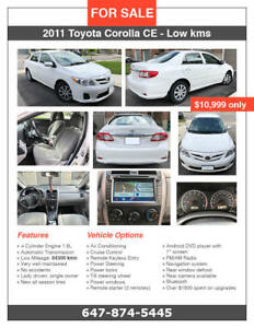 Toyota Corolla CE 2011 - Low Kms/Remote Starter - No Accident