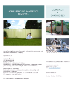 Asbestos Removal and Colourbond fencing