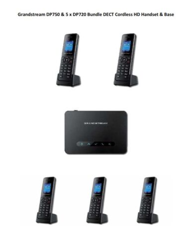 Grandstream DP750 & 5 x DP720 Bundle DECT Cordless Handset & Base-FREE SHIPPING