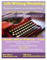 Life Writing (MEMOIR) Workshop-APRIL 28-Saskatoon