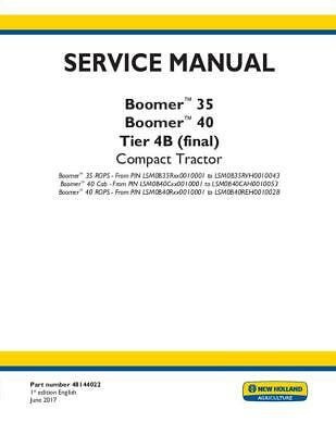 New Holland Boomer 35 Boomer 40 Cab-rops Tier 4b Final Compact Tractor Servic