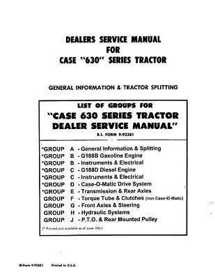 Case Ih 630 Series Tractors Service Manual