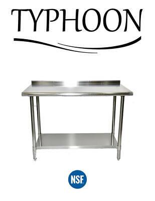 Stainless Steel Backsplash Counter Work Table Adjustable Undershelf 96 X 30