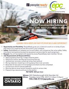 Job Fair for Construction Labourers!!! $25/hr!