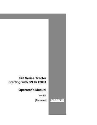 Case Ih 870 Tractor Pin 8727601-8727600 Tractor Operators Manual