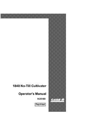 Case Ce 1840 No-till Cutivator Operators Manual