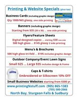 Spring Printing & Website Specials North Bay, Sturgeon & Sudbury
