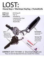 -  LOST: House/Apt. Keys: 3 Keys, 1 WarAmps Tag, 1 PocketKnife -