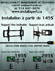 Installation de support mural ( tv / tablette / barre de son )).