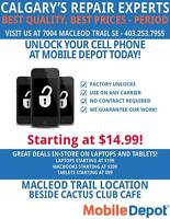 UNLOCK YOUR PHONE STARTING AT $14.99 AT MOBILE DEPOT MACLEOD!