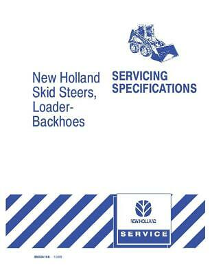 New Holland Skid Steers Backhoes Svc Specification Service Manual