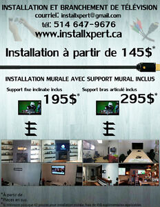 Installation de support murale ( tv / tablette / barre de son )