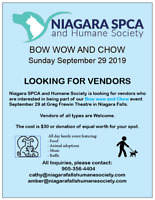 VENDORS WANTED for Niagara SPCA and Humane Society Event