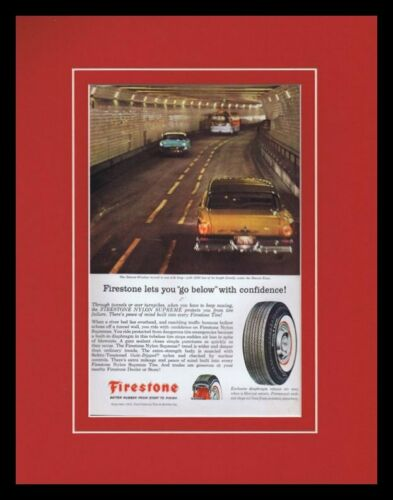 1957 Firestone Nylon Supreme Tires Framed 11x14 ORIGINAL Vintage Advertisement