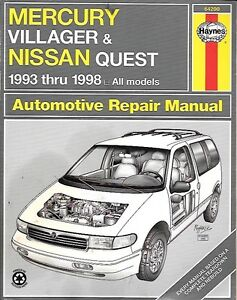 Haynes 1993 thru 1998 Mercury Villager & Nissan Quest Manual
