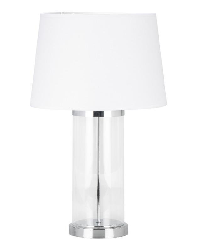 Large Modern Clear Glass Chrome Stem Table Desk Lamp White Shade 71cm