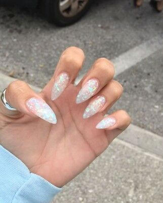 Set Of Painted Iridescent Long Stiletto Nails