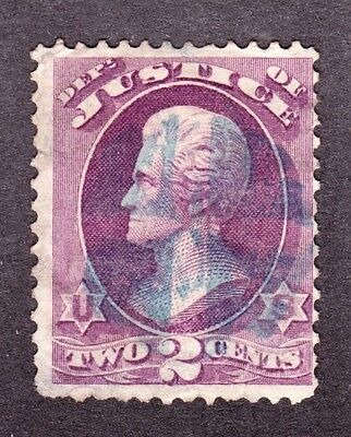 US O26 2c Justice Department Used w/ Blue Quartered Cork Fancy Cancel