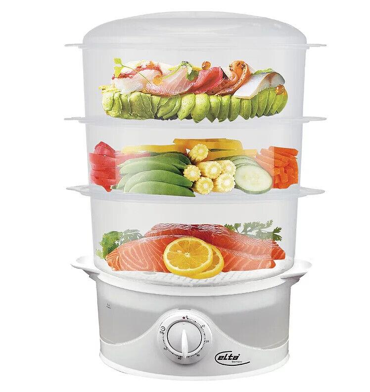 3-fach Dampfgarer 9L Gemüsegarer Reiskocher Küchenmaschine Dampfkocher 800W