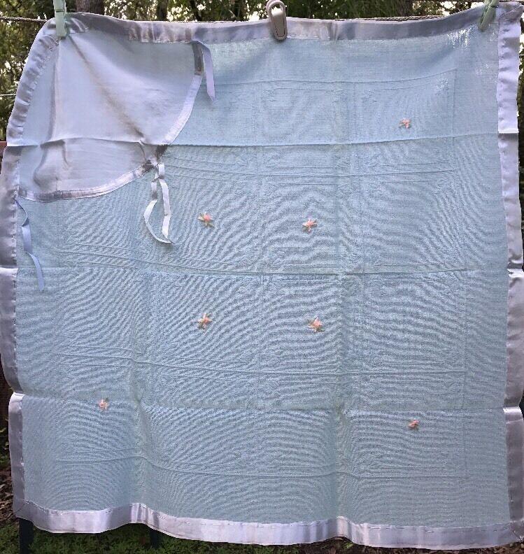 Vintage Soft Wool? Swaddle BABY BLANKET Blue Embroidered Pink Florals Drawstring