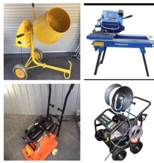 Compactor, brick saw, cement mixer and high pressure cleaner