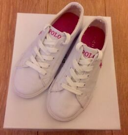 Ralph Lauren White Trainers Girls Kids UK Size 1.5 Excellent Condition