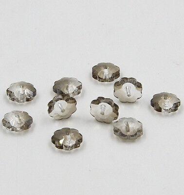 12pieces Swarovskii 10mm Middle hole Plum Blossom Crystal bead C Gray