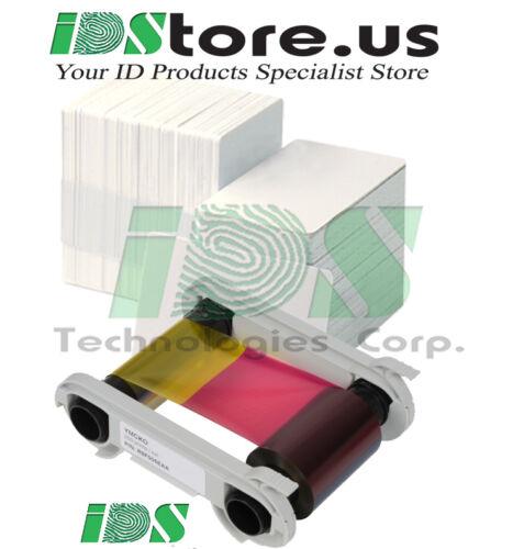 Genuine Evolis R5F008AAA YMCKO Color Ribbon Primacy & 200 Blank PVC Cards Bundle