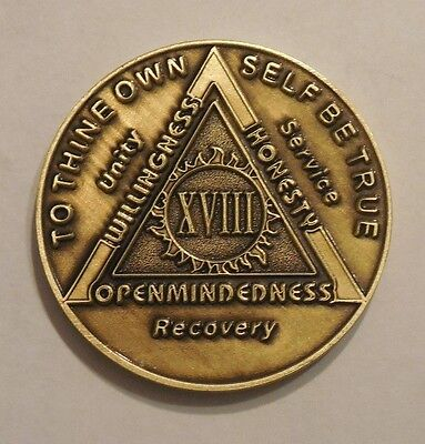 aa bronze alcoholics anonymous 18 year sobriety chip coin token medallion NEW for sale  Philadelphia