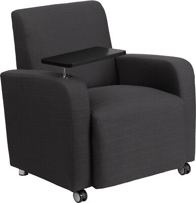 Gray Fabric Guest Chair with Tablet Arm and Front Wheel Cast