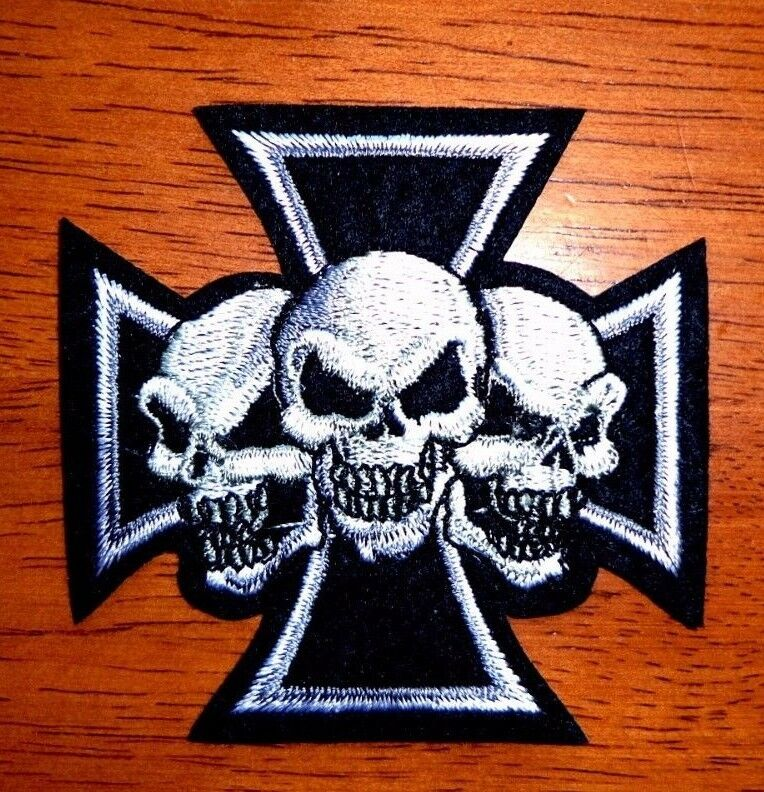 Maltese Cross Three Skulls Iron On Embroidered Punk Rock Gothic Biker Vest Patch