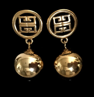 Vintage Givenchy Logo Gold Dangle Earrings - Pierced