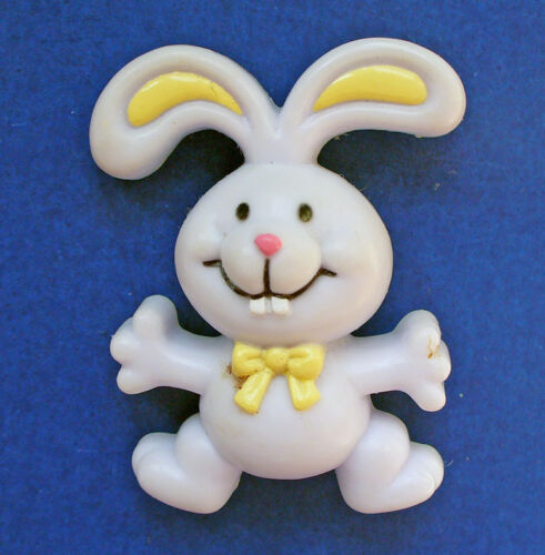 Russ PIN Easter Vintage BUNNY RABBIT Lilac Yellow BOW Holiday Brooch