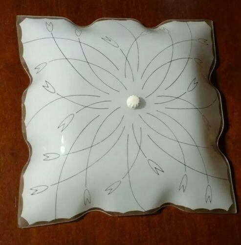 Vintage Glass Light Shade White with Floral Motif