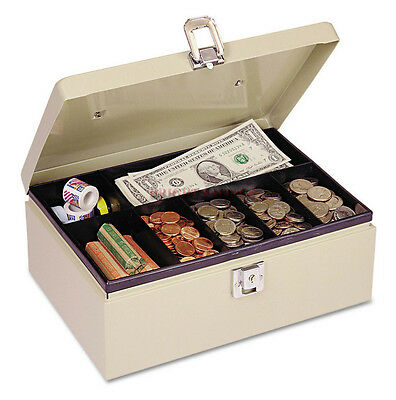Metal Lock Locking Latch Steel Petty Cash Money Box 7-compartment Tray 2 Keys